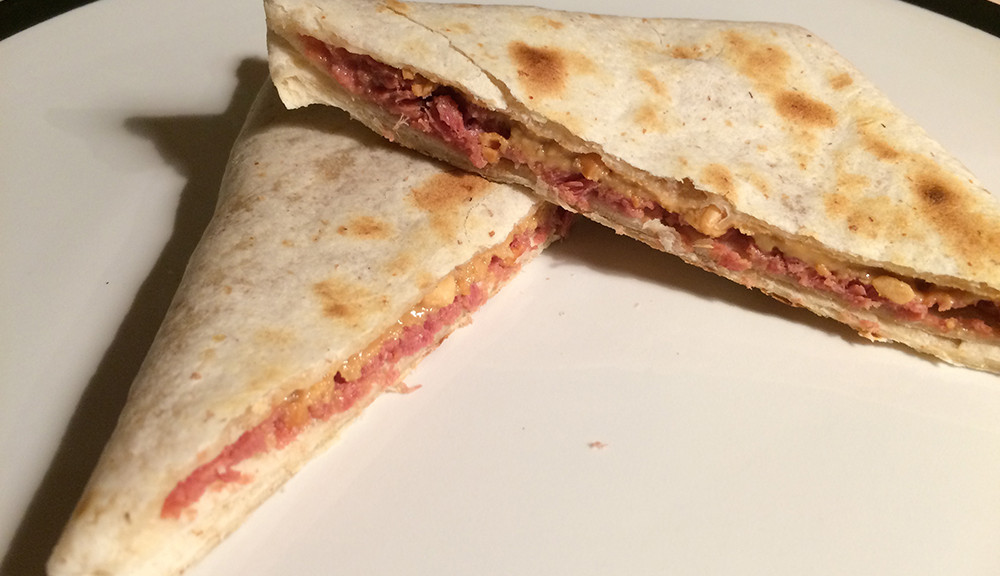 Peanut butter and corned beef quesadilla
