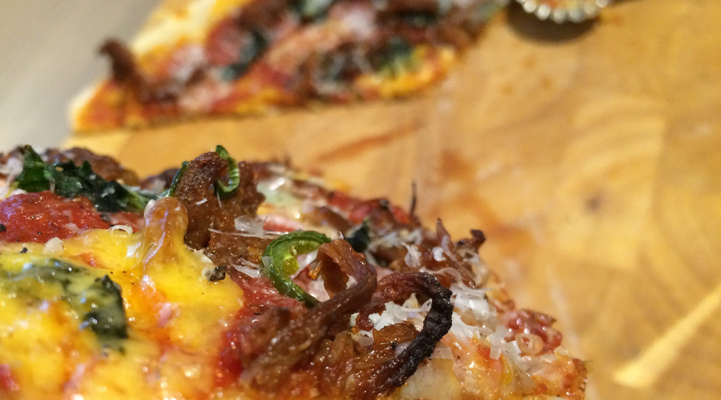 Pulled beef and kale pizza
